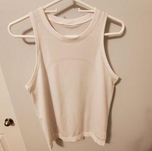 Size 6 Lululemon White Breeze By Muscle Tank
